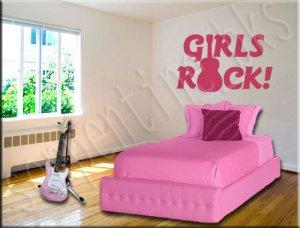 Girls Rock C Vinyl Wall Art Décor Decal Stickers Guitar