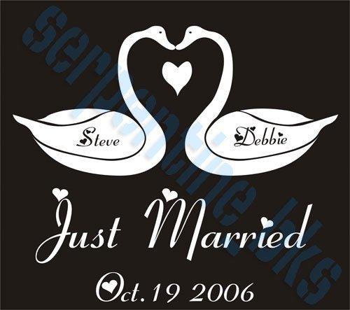 Custom Just Married Vinyl Decal w/ Names & Date