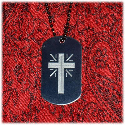 Cross #1 Engraved Dog Tag w/ chain Many Color Options