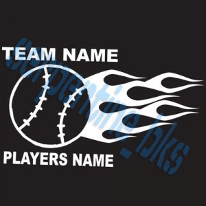 L Custom Sports Flame Baseball Vinyl Decal Team &Player