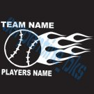 Custom Sports Flame Baseball Vinyl Decal Team & Player