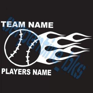 Custom Sports Flame Baseball Vinyl Decal Team & Player