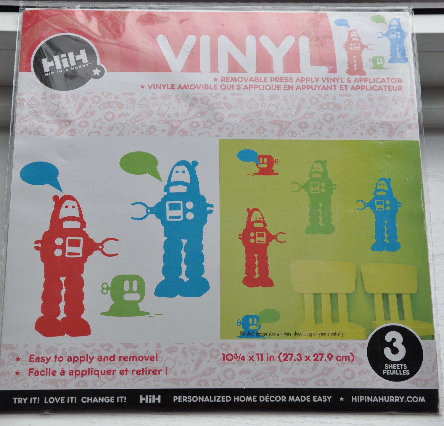 Hip in a Hurry Vinyl Wall Decal art stickers - Robot Trio Multi boys room