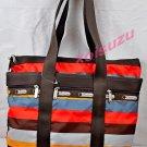 Lesportsac Small Travel Tote Bag Ready brown orange stripe shopper purse