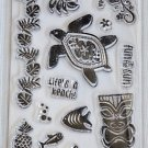 Fiskars Island Fun Clear stamps - 15 - turtle tiki hawaiian flowers
