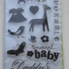 inkadinkado baby girl 12 clear stamps 97606 dress giraffe brenda walton