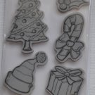 Recollections Cling Christmas Stamps 7 171845 tree holly hat ornament bell candy cane gift