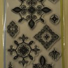 inkadinkado lisa ballard batik cartouches 12 clear stamps 60-30574