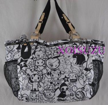 NEW LeSportsac TOKIDOKI TUTTI Avventura Tote Bag purse black white x large