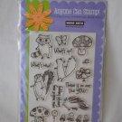 Hero Arts CL261 Woodland Creatures - 15 Clear Stamps - racoon mushroom skunk ladybug