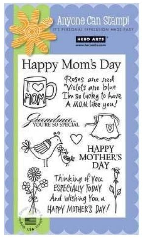 Hero Arts CL334 Happy Mom's Day - 11 clear stamps mother apron heart flowers