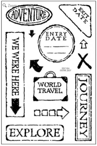 Stampendous Travel Words clear stamps - 12 stamps - road trip arrows journey adventure explore