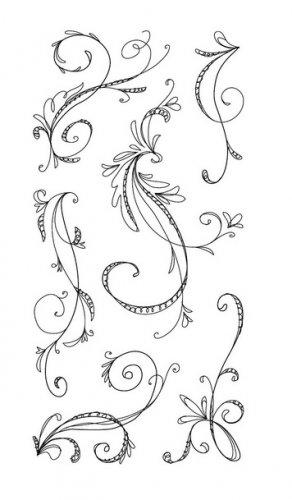 inkadinkado 97632 Sketchy Flourishes 6 clear stamp set