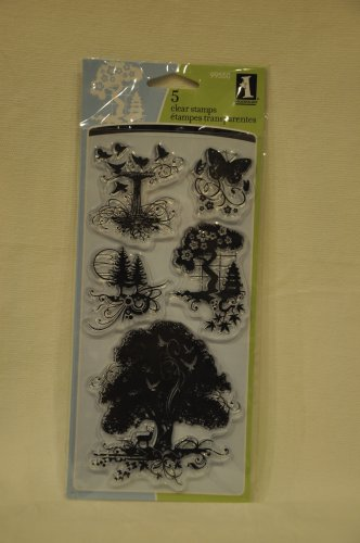 inkadinkado 99550 utopiary - 5 clear stamps - trees butterfly