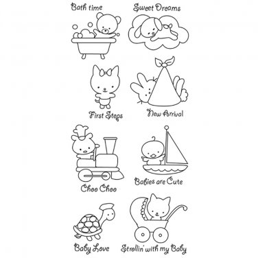 inkadinkado 60-30107 baby love - 8 clear stamps - new arrival bath time dreams