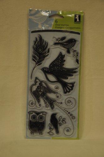 inkadinkado 98849 Gem Stone Birds - 6 clear stamps - feather owl pigeons