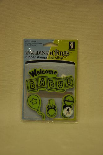 inkadinkado 60-60008 Welcome Baby Rubber stamp set - 4 pieces - balloon pacifier rattle