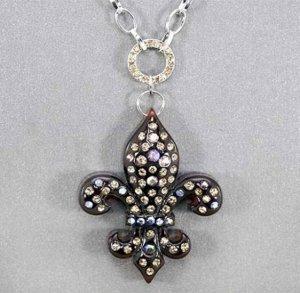 Brown Fleur de Lis Necklace