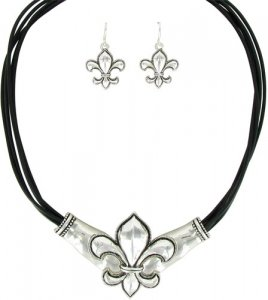 Silvertone Fleur de Lis Multi-Corded Necklace and Earring Set