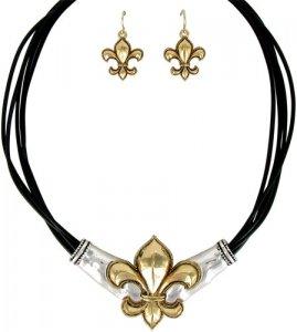 Two-Tone Fleur de Lis Multi-Corded Necklace and Earring Set