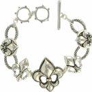Textured Fleur de Lis Toggle Bracelet