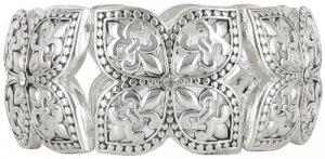Silvertone Flowers & Fleur de Lis Stretch Bracelet