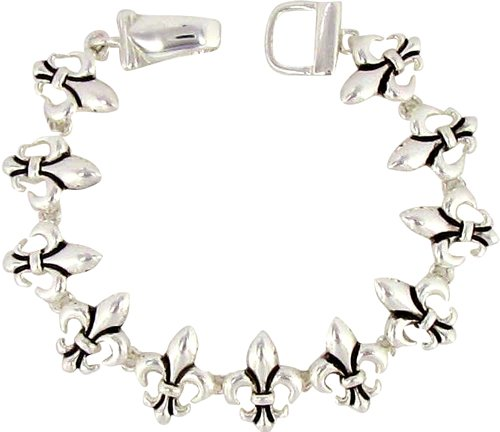 Fleur de Lis Silvertone Bracelet