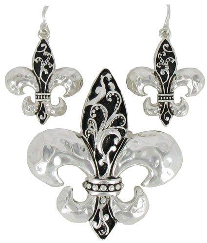 Silvertone & Jet Scroll Design Fleur de Lis Pendant and Earrings Set