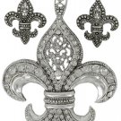 Vintage Silvertone & Crystal Fleur de Lis Pendant and Earring Set