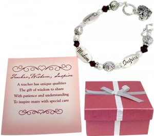 Beautiful Beaded Bracelet with Teacher Theme in a Gift Box
