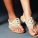 Soda Beige and Gold Detailed Slip On Sandal - Size 6.5