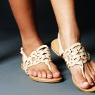 Soda Beige and Gold Detailed Slip On Sandal - Size 8