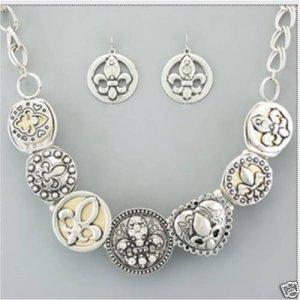Fleur De Lis Dual Tone Necklace and Earring SET