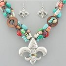 Fleur De Lis Multi Stone Necklace and Earring SET