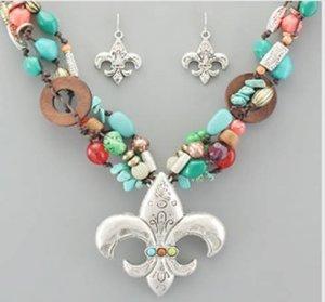 Fleur De Lis Multi Stone Necklace and Earring SET