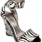 Wild Diva Black White Zebra Wedge Dressy or Casual