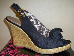 Qupid Satin Wedge Sandal- Size 9