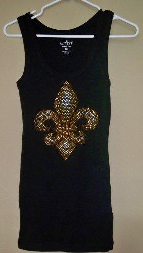 Size Medium - Black and Gold Fleur de Lis Tank Top