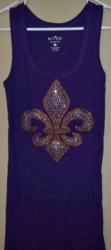 Size Medium - Purple and Gold Fleur de Lis Tank Top