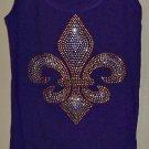 Size Small - Purple and Gold Fleur de Lis Tank Top