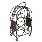 5-Bottle Wine Rack with Ceramic Fleur de Lis