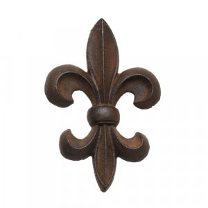 "Cast Iron Fleur de Lis Wall Decor - Brown 7"""
