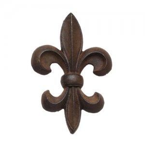 "Cast Iron Fleur de Lis Wall Decor - Brown 9"""