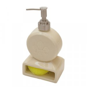 Cream Fleur de Lis Soap Pump/Scrubby Holder