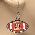 LSU OFFICIALLY LICENSED FOOTBALL SHAPED EARRINGS