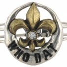 "Two-Tone ""Who Dat"" Fleur de Lis Hinged Bracelet"