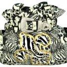 Black Animal Print with Zebra Fleur de Lis Buckle Satchel