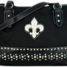 Black Leather Crystal Fleur de Lis Satchel