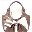 Bronze and White Bow Handbag
