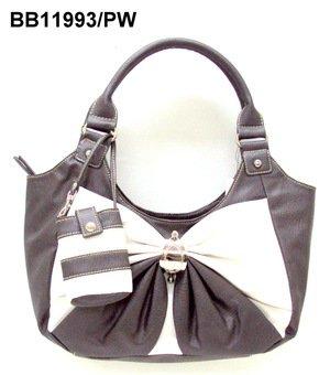 Pewter and White Bow Handbag